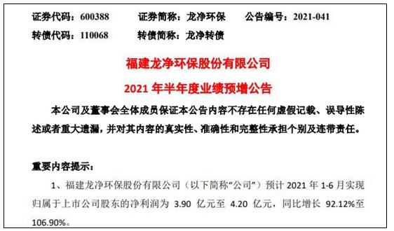 半年度業績預增,又同步官宣4.2億收購案 龍凈環保引關注
