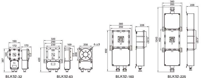 BLK52防爆断路器外形尺寸