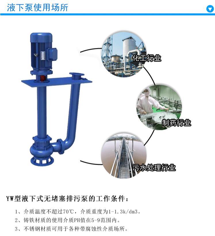 液下排污泵使用范围