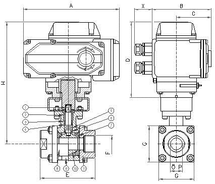 Q911F电动调节型不锈钢三片式内螺纹球阀结构图