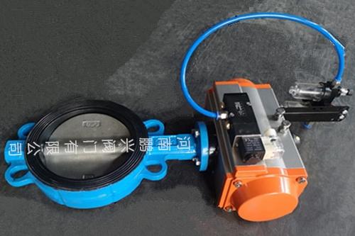 D671X气动耐磨胶对夹蝶阀